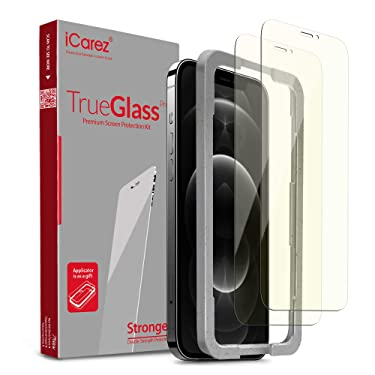 iCarez Anti Blue Tempered Glass Screen Protector for iPhone 12 Pro Max 6.7-Inches Tray Installation (Case Friendly) Easy Apply [ 2-Pack 0.33MM 9H 2.5D]