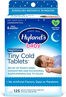 Baby Cold Medicine Nighttime Tablets, Infant Cold and Cough Medicine, Decongestant, Hyland's Tiny Cold, Natural Relief of ...