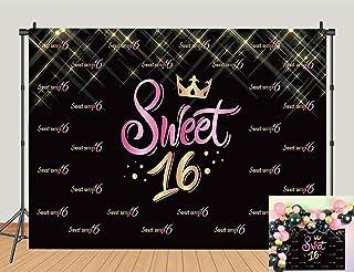 Fotohintergrund für 16 Fotos, Rosa und Schwarz, für Mädchen, Prinzessin, 16. Geburtstag, Party Fotografie, Requisiten, Kuchentisch, 1,5 x 0,9 m