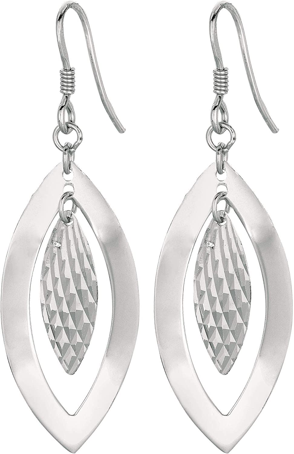 Silver with Rhodium Finish Textured Close Atlanta Mall low-pricing Leaf Dangle Earr Small