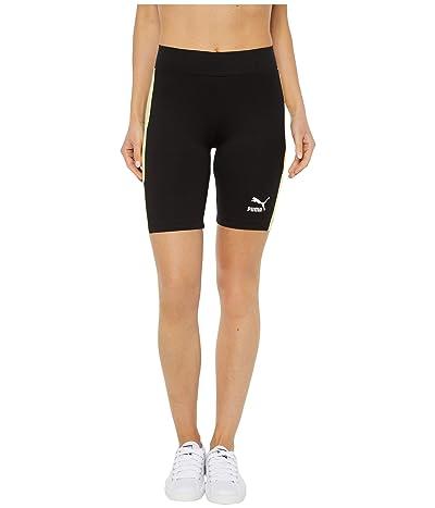 PUMA Classics Biker Shorts (Puma Black/Sunny Lime) Women