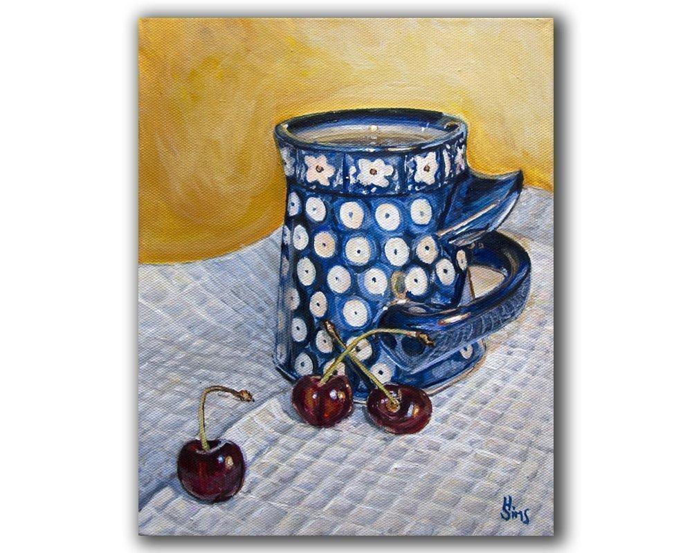 Polish Max 54% OFF Pottery Mug Wall Decor Philadelphia Mall Art Polka Dot Giclee Print Cherrie