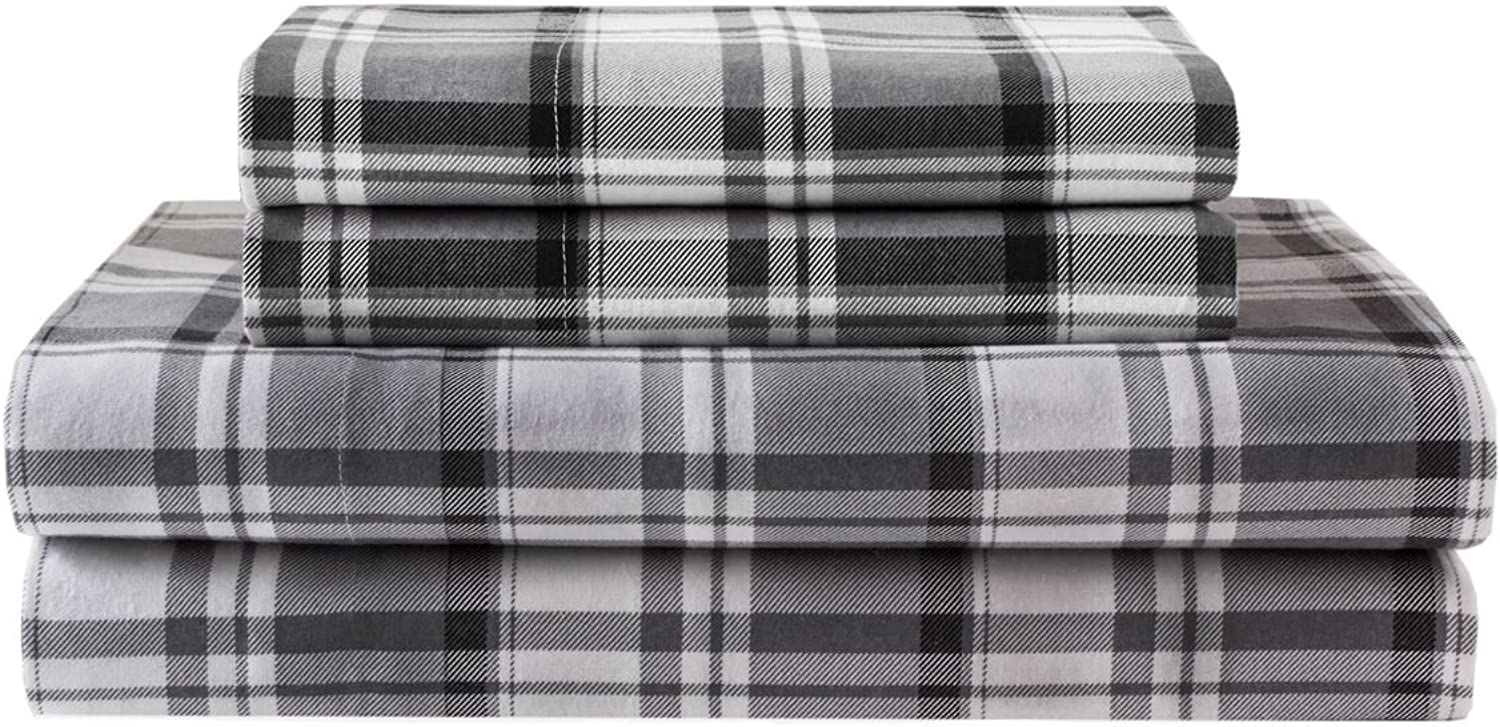 Elite Home Products Deep-Pocketed Winter Nights 100% Cotton Flannel Sheet Set, Full, Hutton Plaid Grey