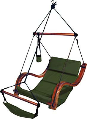 Amazon Com Hammaka Nami Deluxe Hanging Hammock Lounger Chair In Green Garden Outdoor