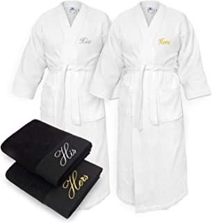 Kaufman - His and Hers Embroidered Elegant SPA Bathrobes 100% Cotton - Waffle Kimono Set of Robes with His and Hers Black Towel Set 30''x58'' 4-PK