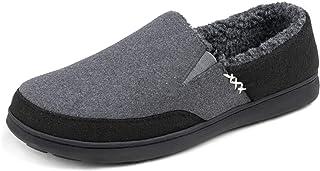 Zigzagger Men's Wool Fleece Slippers, Indoor/Outdoor Durable House Shoes with High-density Foam