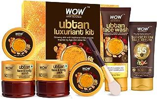 WOW Skin Science Luxuriant Ubtan Kit - Ubtan Face & Body Pack, Ubtan Face and Body Scrub, Ubtan Face Wash & Sunscreen Serum SPF 55 PA+++ - Net Vol 350mL