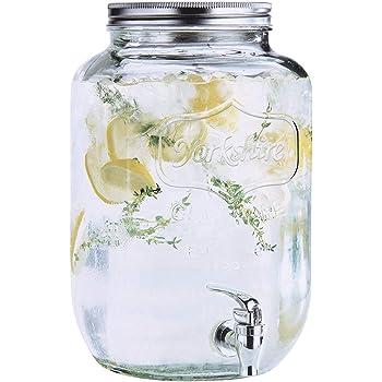 Estilo 2 gallon Glass Single Mason Jar Beverage Drink Dispenser With Leak Free Spigot, Clear