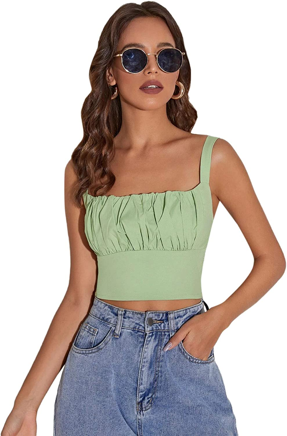 Romwe Women's Ruched Bust Sleeveless Square Neck Shirred Cami Crop Tops Camisole