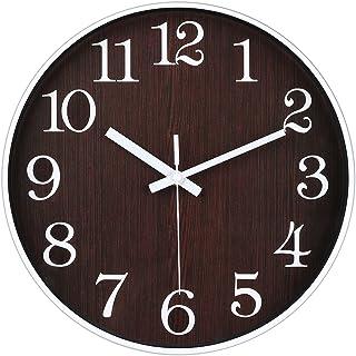 JoFomp Non-Ticking Silent Wall Clock, 12 inch Battery Operated Modern Quartz Decro Clocks, Wood Grain Style Clock Easy to ...