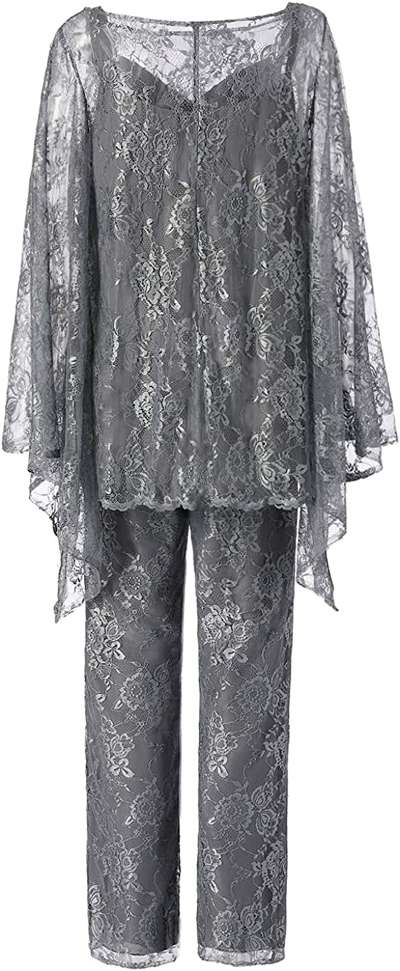 Women's 3 Pieces Elegant Outfits Lace Mother of Bride Dress Pant Suits with Jacket Set for Wedding