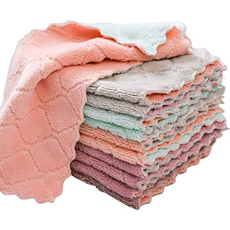Kitchen Dish Cloths Rags Microfiber Cleaning Cloth Towels for Washing Dishes, Premium Dishcloths, Super Absorbent Coral Velvet Dishtowels, Nonstick Oil Washable Fast Drying (8 Pack)