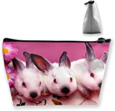 Makeup Bag Cosmetic Rabbit Flower Pink Portable Cosmetic Bag Mobile Trapezoidal Storage Bag Travel Bags with Zipper