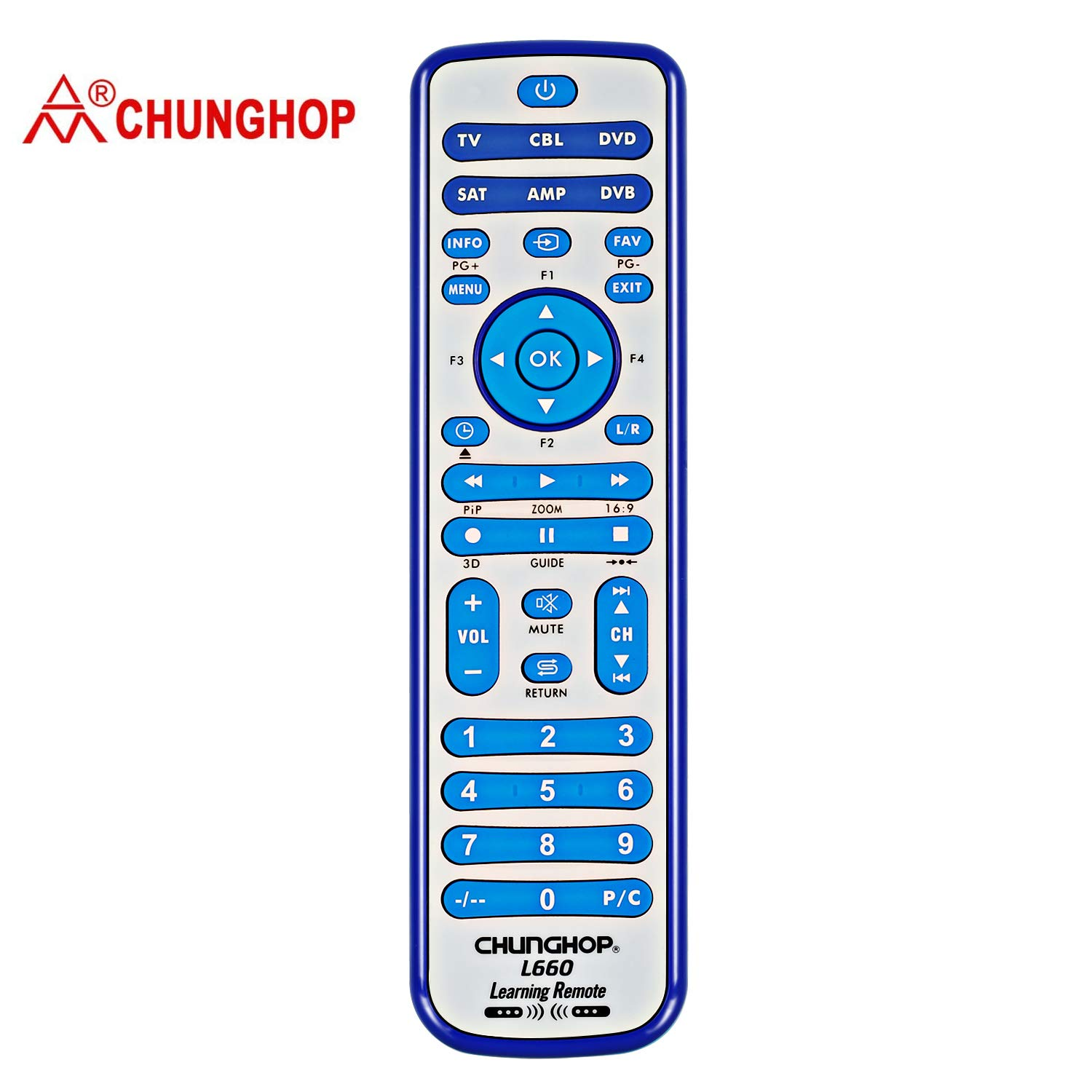 CHUNGHOP Universal IR Learning Remote Control for Smart TV VCR CBL DVD Sat STR-TV CD VCD HI-FI AMP 6 in 1 L660 Multifunctional Controller with programmable Function: Amazon.es: Electrónica