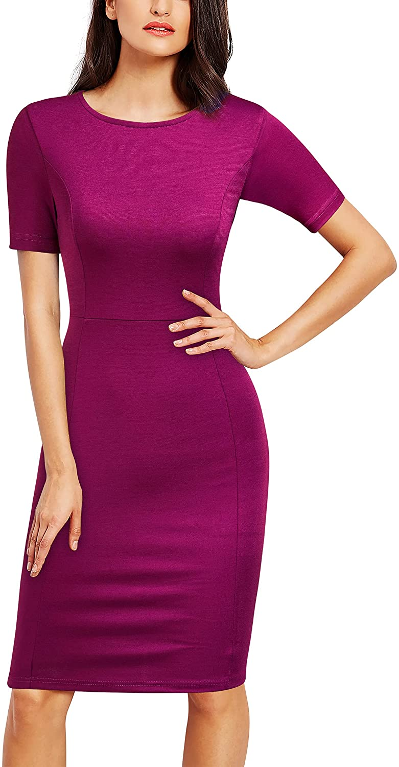 FORTRIC Women Prints Church Business Work Party Elegant Bodycon Floral Dress