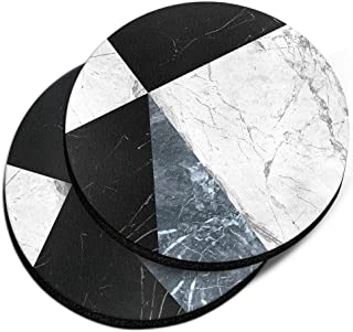 CARIBOU Coasters, Ray Black White Blue Marble Design Absorbent Round Fabric Felt Neoprene Car Coasters for Drinks, 2pcs Set