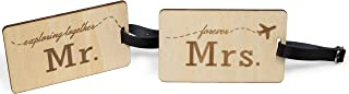 Mr Mrs Wooden Luggage Tags Travel Cute Couples Gift Real Leather Belt - 2 Pack