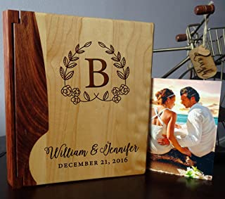 LoveToCreateStamps Personalized Wood Cover Photo Album, Custom Engraved Wedding Album, Style 105 (Maple & Rosewood Cover)