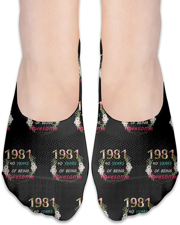 80th Bday Party 1981 - 40th Women'S Mama Birthday Gift No Show Socks Adult Short Socks Athletic Casual Crew Socks