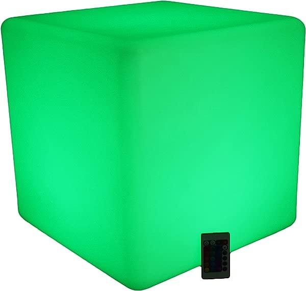 照明座椅立方体端桌奥斯曼 LED 立方体 16 变色家具带遥控无绳防水可充电发光家具室内室外