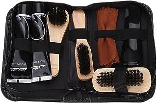 8 Pcs Portable Shoe Shine Care Kit Waterproof Travel Brush Set for Boots Shoes Sneakers Black and Neutral Shoe Polish