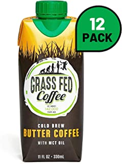 Grass Fed Coffee | Cold brew butter coffee with MCT Oil, Works with Ketogenic Diet - 12 Pack