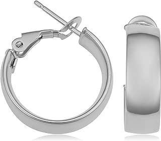 KoolJewelry 14k Yellow, White or Rose Gold Omega Clip Hoop Earrings (5.9x15 mm)