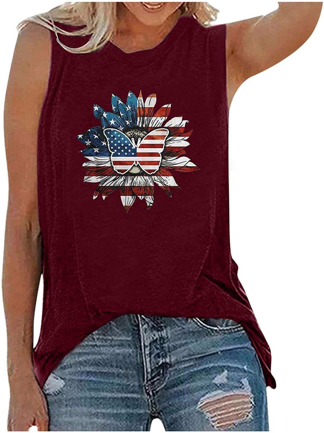 Womens Tops,Womens Tank Tops for Independence Day Womens Casual Sleeveless Inspirational Graphic Tees