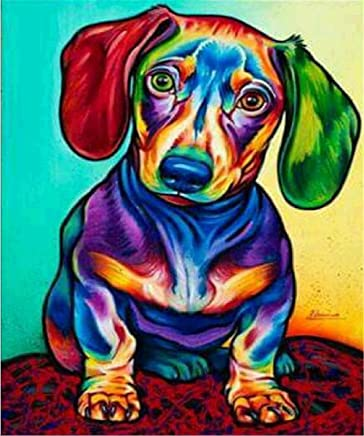 5D DIY Diamond Painting by Number Kits for Adults, Round Drill Rhinestone Embroidery Kit for Wall Decoration Dog 12x16inch