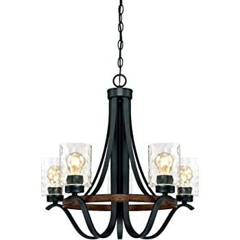 Westinghouse Lighting 6331900 Barnwell Five-Light Indoor Chandelier, Textured Iron and Barnwood Finish with Clear Hammered Glass, 5, Iron & Barnwood