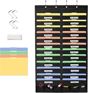 Magicfly Hanging Wall File Organizer, 24 Pockets Hanging File Folder Organizer, Cascading Wall File Organizer with 6 Tool Pocket, Wall Paper Organizer for Home, School, Office, Black