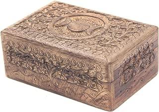 KayJayStyles Hand Carved Jewelry Trinket Keepsake Wooden Storage Box (Medium, Triple Moon)