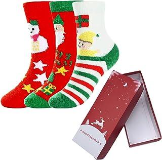 CHIC DIARY, Calcetines de Navidad divertidos y bonitos calcetines de Navidad, calcetines cálidos, calcetines de invierno para mujer, regalo de Navidad