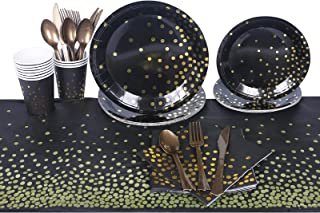 Beauenty 71PCS Party Supplies Golden Dot Disposable Party Paper Dinnerware,Paper Plates and Napkins Cups Forks Knives Spoo...