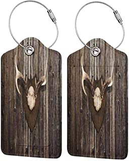 Antler Decor Baggage Tags for Luggage Tags for Kids Rustic Home Cottage Cabin Wall with Antlers Hunting Lodge Country House Trophy Soft and comfortableBrown 4 packs