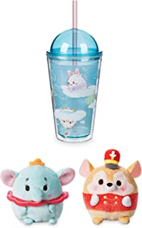 Cloud Kids Disney Drinking Tumbler/Cup with Straw friends with Dome lid Reusable Fun + Bonus Dreamy Soft Dumbo & Timothy the Mouse mini Ufufy Plush Characters Bundle