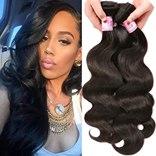 Beauty Forever Indian Body Wave Hair 3 Bundles Hair Extensions 100% Unprocessed Human Virgin Hair Weaves Natural Color 95-100g/pc (12 14 16)