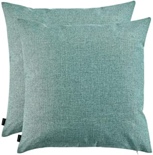 Artcest Set of 2, Decorative Linen Bed Throw Pillow Cases, Sofa Durable Modern Stylish, Comfortable Cushion Covers for Couch, 14x14 (Seafoam Aqua)