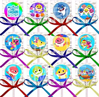 Little Shark for Baby Shower Lollipops Party Favors Decorations Movie w/ Purple Ribbon Bows Party Favors -12 pcs, Babies First 1st Birthday Infant Toddler Mommy Daddy Grandma Grandpa
