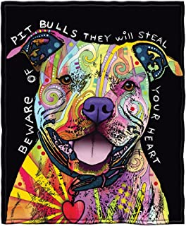 Dawhud Direct Dean Russo Beware of Pit Bulls They Will Steal Your Heart Fleece Throw Blanket