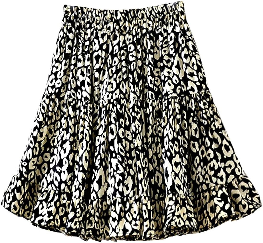 G-dress Globalwells Women Summer Cute High Waist Ruffle Skirt Leopard Print Swing Beach Mini Skirt
