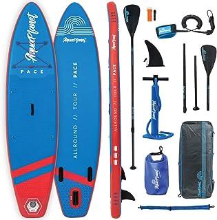 Aquaplanet PACE Kit completo para SUP (tabla de 3,2 x 76 cm x 15 cm). con bomba de aire, pala, mochila, correa para la pierna, bolsa de surf impermeable, correa para el hombro y más