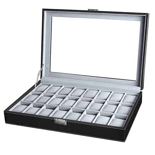 SONGMICS 24 Watch Box Extra Large Watch Case Glass Top Black Display Organizer Faux Leather