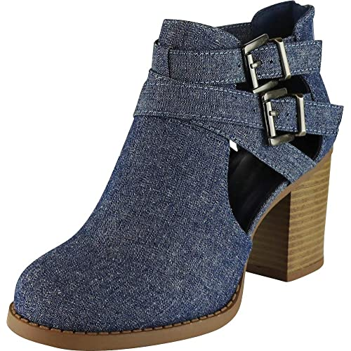 4951684a6 Cambridge Select Women's Buckle Side Cut Out Chunky Stacked Heel Ankle  Bootie
