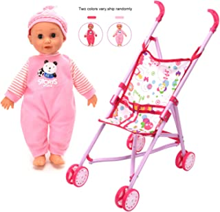 WonderPlay Doll Stroller with Baby Doll Foldable Umbrella Doll Strollers with Swivel Wheels Handles for Toddlers Kids