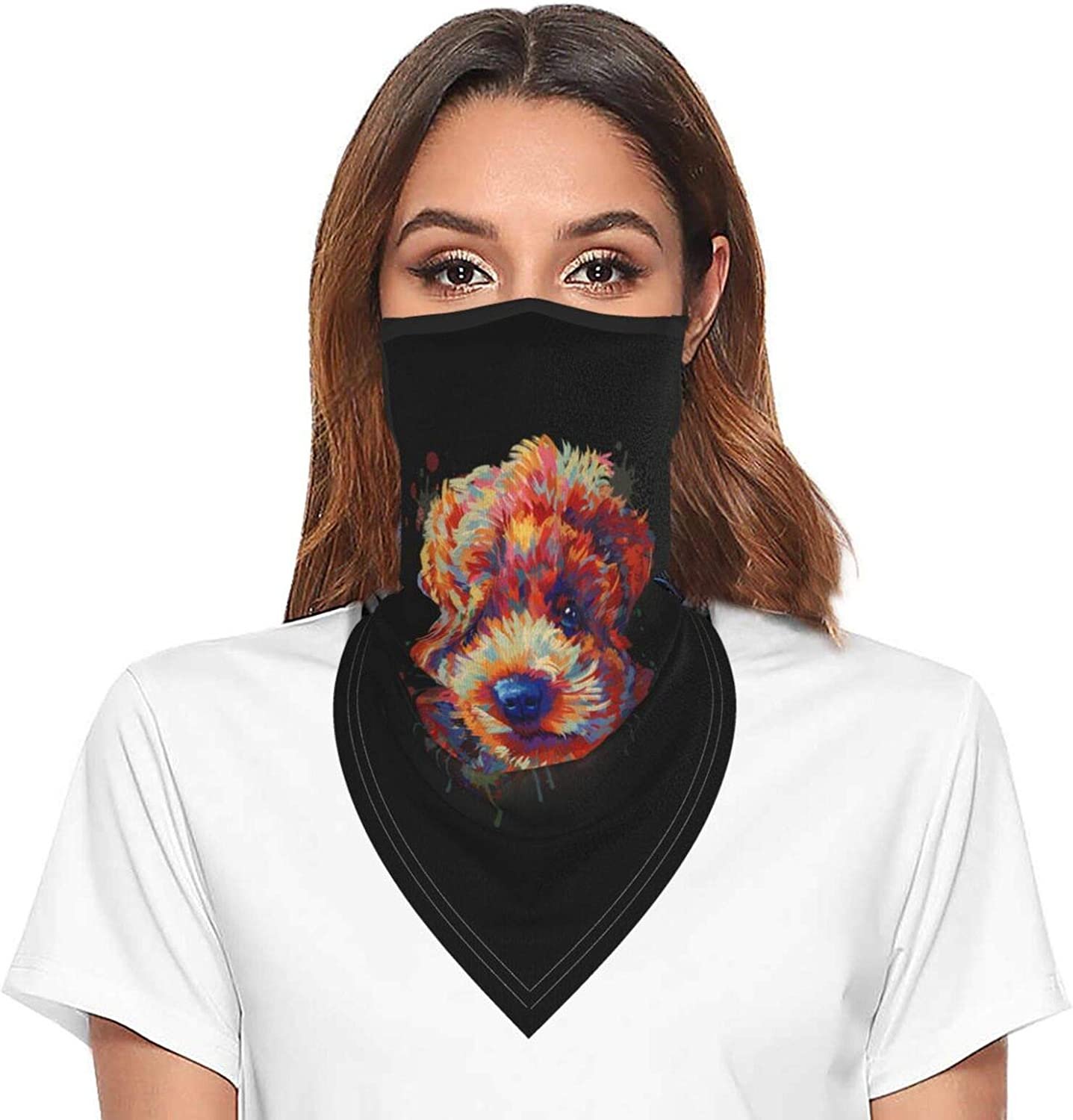 Lovely Colourful Poodle Neck Gaiter Face Mask With Ear Loops Outdoor Breathable Scarf For Men Women