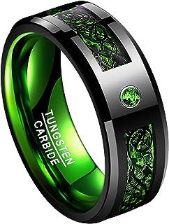 خاتم زفاف TUNGSTORY 8 مم أسود من كربيد التنجستين مع ألياف الكربون الخضراء وCZ مرصعة بطلاء مصقول حجم 6-15