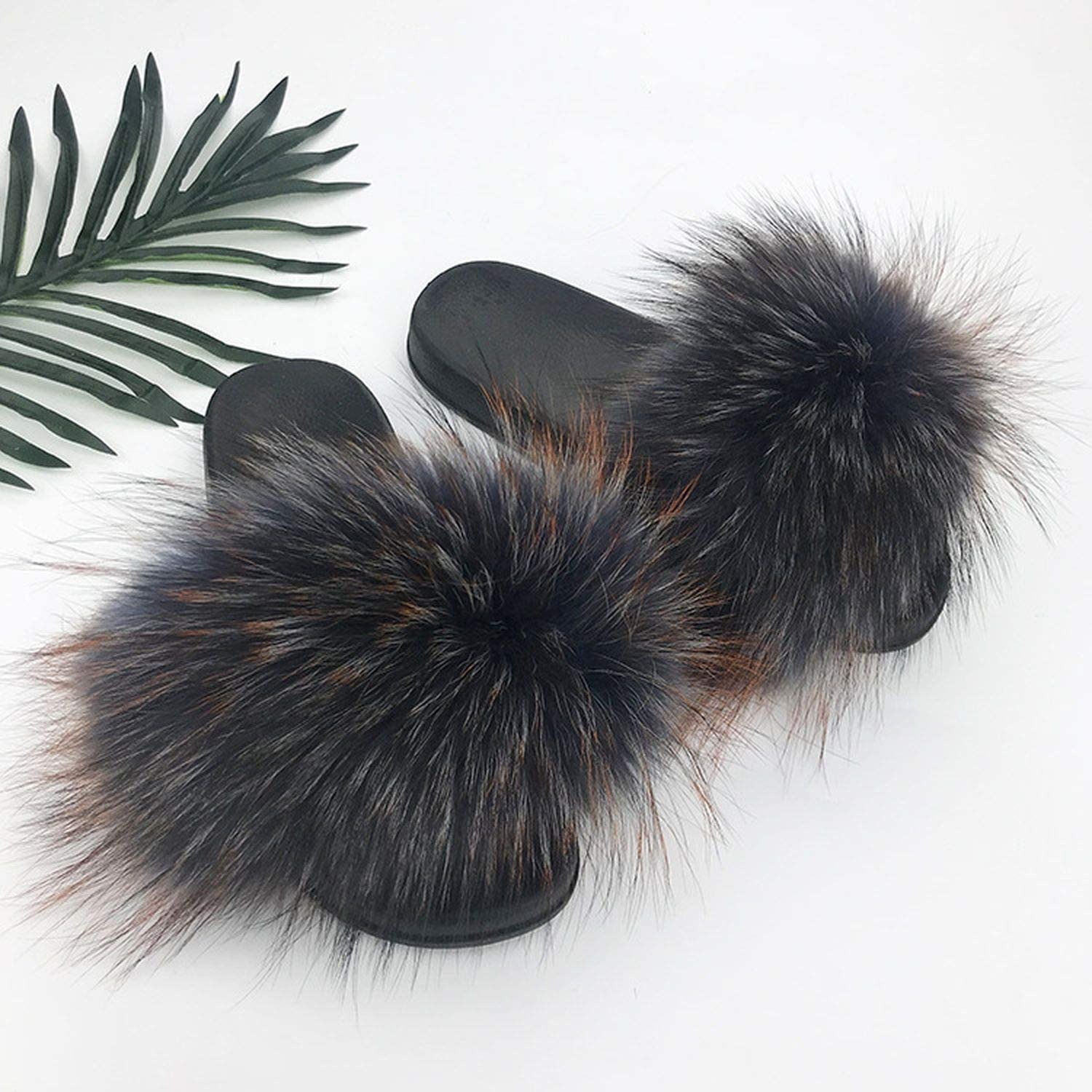 Blingbling-honored High end Real Raccoon Fur Slippers Women 2019 Sliders Casual Fox Hair Flat Fluffy Fashion Home Summer Big Size 45 Furry Flip Flops shoes