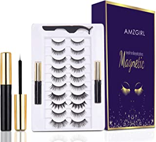 Magnetic Eyelashes with Eyeliner Kit, 10 Pairs Reusable Magnetic Eyelashes, Upgraded Natural Look False Lashes with Tweeze...