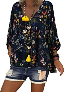 LUKEEXIN Women's Sexy V-Neck Butterfly Printed 3/4 Sleeve Blouse